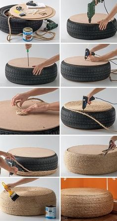 Beautiful DIY Rope Ottoman with a Used Tire - totally making thisPlans of Woodworking Diy Projects - Pneu fauteuil Get A Lifetime Of Project Ideas & Inspiration!rope-tire-ottoman More DIY Posts from DIY for Life Comments commentsRope or get Ikea roun Woodworking Projects Diy, Teds Woodworking, Diy Projects, Project Ideas, Upcycling Projects, Weekend Projects, Woodworking Techniques, Diy Home Crafts, Diy Home Decor