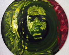 "Painted Record 12"", Peter Tosh, Painting on Records, Music Art, Island Art, Island Decor, Reggae Art, Jamaica, Rastafari"