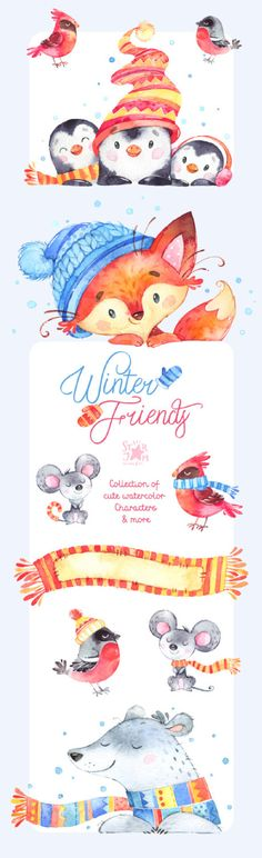 Winter Friends. Collection of watercolor by StarJamforKids on Etsy