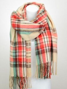 Super Soft Plaid Scarf with Tassels FABRIC: 100% acrylic                                                                                                                                                                                 More
