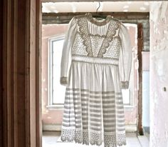 Embroidered Victorian White Dress Whitework by marybethhale
