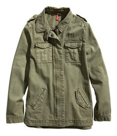 H&M Straight-cut shirt jacket in washed twill. Chest pockets, side pockets with flap and fastener, and shoulder tabs. Zip and snap fasteners at front and snap fasteners at cuffs. Side vents. Unlined. $39.95