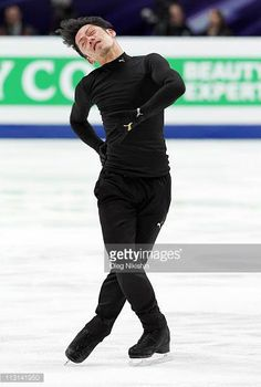 Daisuke Takahashi of Japan skates in the training during day one of the 2011 World Figure Skating Championships at Megasport Ice Rink on April 24...