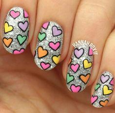 Cute heart / Valentine's day nail art