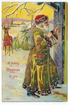 Antique Christmas Postcard Santa Gold Robe Reindeer Toys Emb c1908 Silver Gilt | eBay