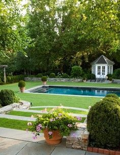 Back yard landscape. Beautifully landscaped back yard and swimming pool. Outdoor Pool, Outdoor Spaces, Outdoor Gardens, Outdoor Living, Outdoor Decor, Beautiful Pools, Beautiful Gardens, Dream Pools, Traditional Landscape