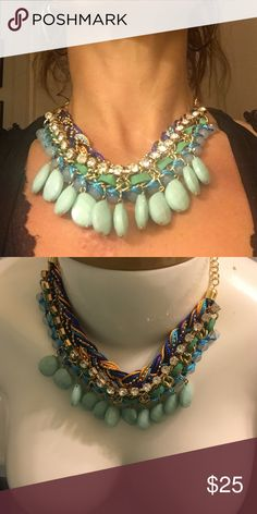 Statement necklace Gorgeous chunky statement necklace beautiful textures different materials including beads pearls, rhinestones, thread. Perfect colors for summer Jewelry Necklaces