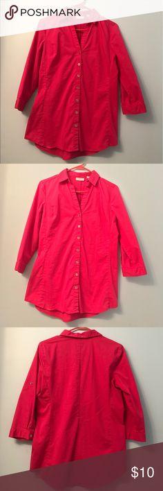New York & Company stretch button down Vibrant pink button down. Stretch fit. Silver buttons. Size M. New York & Company Tops Button Down Shirts
