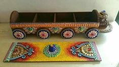 Woodean Mdf Dry fruit box with multi color sheds in shape of horse cart with whiles. Diy Home Crafts, Craft Stick Crafts, Clay Crafts, Handmade Crafts, Wood Crafts, Diwali Decoration Items, Decorations, Diy Diwali Gifts, Name Plate Design