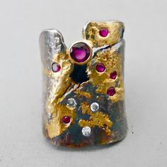 Goph Studios ~ colored gemstones, diamond,18k gold, sterling silver ring