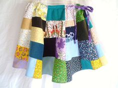 Patchwork Drawstring Skirt Womens by jclairep on Etsy, $34.00