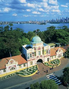 Taronga Zoo, Sydney, Australia.  Leading zoological garden featuring Australia's finest collection of native animals and a diverse collection of exotic species.  What makes Taronga special is its location.  It is situated on elevated land along the waterfront, in one of the most beautiful vantage points on Sydney Harbour overlooking Sydney Cove, the Harbour Bridge and the Opera House.