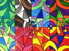 DRAWS Attention!!!: CoLoR ScHeMes...simplify and use black crayon to separate colors.