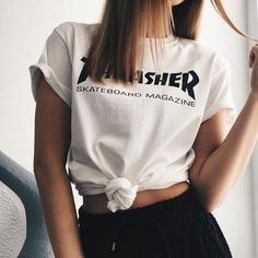 Casual womens tshirt thrasher white by kikiboutiquebg on etsy Summer Outfits, Casual Outfits, Fashion Outfits, Womens Fashion, 90s Fashion, Dope Fashion, Fashion Hair, Street Fashion, Girl Fashion