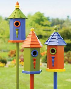 Colorful, elevated birdhouses