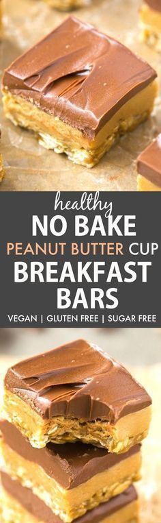 Healthy No Bake Peanut Butter Cup Breakfast Bars (V, GF, DF, SF)- Enjoy dessert for breakfast with this guilt-free and easy no bake bars which taste like a Reese's peanut butter cup! {vegan, gluten free, sugar free recipe}- thebigmansworld.com