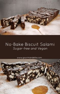 This no-bake biscuit salami is sugar-free, vegan and delcious! If you loved the original biscuit salami recipe when you were little, then you'll love this healthier version too! | gourmandelle.com | #sugarfree #vegan #nobake