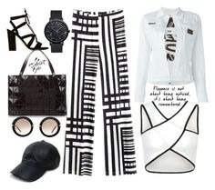 """""""Black and White"""" by peeweevaaz ❤ liked on Polyvore featuring Philipp Plein, WithChic, Dune, Bao Bao by Issey Miyake, Miu Miu, Vianel, outfit, stripes, polyvoreeditorial and polyvorefashion"""