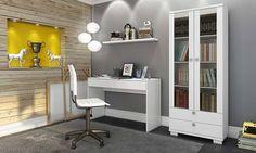 Compre Conjunto Home Office com Estante, Escrivaninha e Prateleira Branco - Caaza em Promoção com ✓ Até 12x ✓ Fretinho