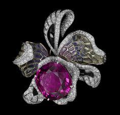 White gold, one 46.12-carat cushion-shaped purple tourmaline, plique à jour enamel, onyx, brilliants