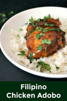 Filipino Chicken Adobo, a delightful dish served with basmati rice and plenty of freshly-chopped parsley. A great dinner recipe that will please everyone. Healthy, flavourful, and easy to make. #adobo, #filipinofood , #chickenrecipes , #chickendinner , #chickenthighs, #healthyrecipes , #bakedchicken