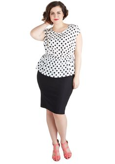 Working for the Weekdays Top in White Dots - Plus Size | Mod Retro Vintage Short Sleeve Shirts | ModCloth.com