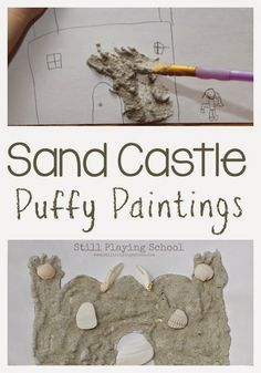Sand Castle Puffy Paint Art for Kids from Still Playing School. Ocean / beach theme craft for toddlers and preschoolers. Puffy Paint, Ocean Themes, Beach Themes, Summer Themes, Projects For Kids, Crafts For Kids, Art Projects, Sand Art For Kids, Ocean Crafts