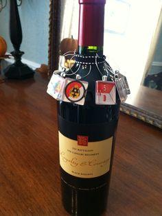 Custom Wine label with custom made wine charms.