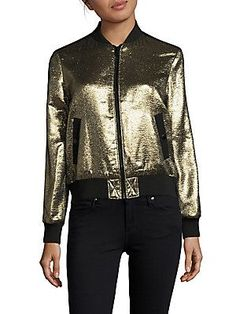 Cinq à Sept Allura Long-Sleeve Bomber Jacket - Gold - Size