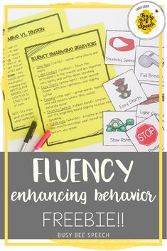 Free speech therapy strategies for stuttering.  This resource includes handouts and visuals for fluency enhancing behaviors!