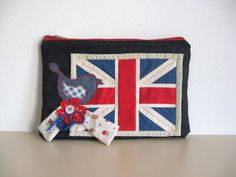 Union Jack Denim Red Blue Bird Flower Clutch Purse Handbag England Flag All Day Evening  Romantic Whimsical Zipper Pouch Cosmetic Bag OOAK on Etsy, $29.00