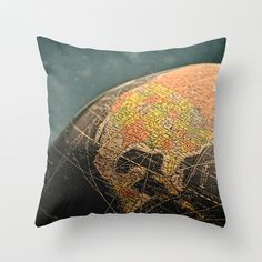 Pillow Cover Vintage Old Retro Globe by sarahaphotography on Etsy, $30.00