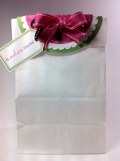 A melon Thanks gift bag made using the Bag Toppers - summer Cricut Craft Room cartridge. #Cricut