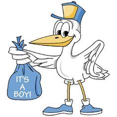 Cartoon Stork Image Delivering Baby Boy