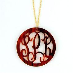 lulukate Round Rimmed Acrylic Monogram Necklace! www.shoplulukate.com