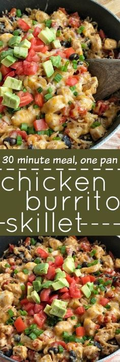 This easy chicken burrito skillet cooks in one pan on the stove top. Your favorite burrito ingredients are cooked up in one skillet pan. Tender chunked chicken, cheese, rice, beans, and seasonings simmer and cook to perfection in 30 minutes!
