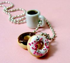 Coffee and Donuts Necklace  Food Jewelry by kawaiidesune on Etsy, $15.00