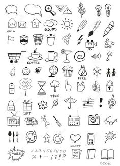 Find Set Various Hand Drawn Icons stock images in HD and millions of other royalty-free stock photos, illustrations and vectors in the Shutterstock collection. Mini Drawings, Small Drawings, Doodle Drawings, Easy Drawings, Doodle Art, Simple Doodles, Cute Doodles, Bullet Journal Ideas Pages, Bullet Journal Inspiration