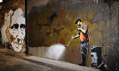 Banksy: More ironic stencils. Love this one, it's one of my favourites...