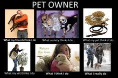 Dog owners, what people, society, pets, vet, think I do versus what I really do.  :)