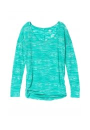 sea green cinched side long sleeve burnout plus size tee - maurices.com