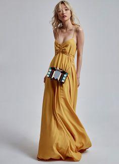 Vestido amarillo vaporoso - | Adolfo Dominguez shop online