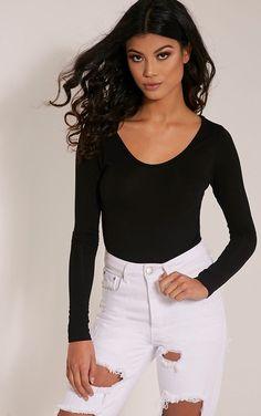f51cb22c534097 Black Scoop Neck Thong Bodysuit Full Body Suit
