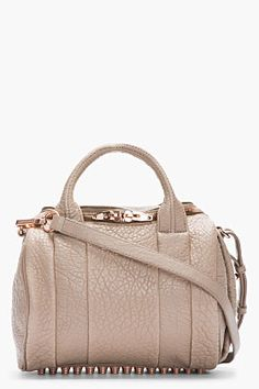 Alexander Wang Latte Brown Glossed Leather Rockie Mini Duffle Bag for women | SSENSE