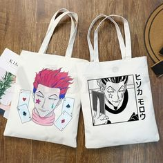 Diy Tote Bag, Cute Tote Bags, Cotton Tote Bags, Painted Canvas Bags, Canvas Tote Bags, Tods Bag, Drawing Bag, Anime Inspired Outfits, Hippie Bags