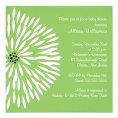White Flower on Green Baby Shower Invitation