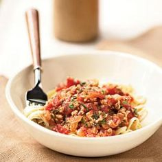 Linguine with Spicy Red Clam Sauce Recipe | MyRecipes.com--I subbed 2 TBS. sun dried tomato instead of tomato paste