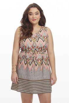 Plus Size Tucson Chevron Drawstring Dress   Fashion To Figure