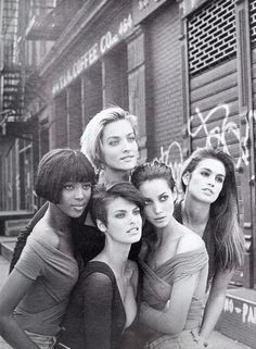 Naomi Campbell, Linda Evangelista, Tatjana Patitz, Christy Turlington, and Cindy Crawford for the iconic January 1990 edition of British Vogue shot by Peter Lindbergh.