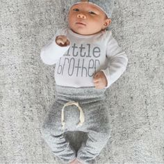 Expecting a new little brother? We have some of the cutest sibling outfits!  #shopsugarbabies #littlebrother #newbaby #memphisaldean #pregnant #springbaby #newbaby #brother #brothers #brotherlylove